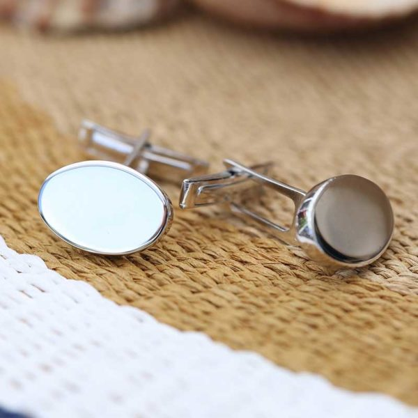 Oval cuff links men engrave silver