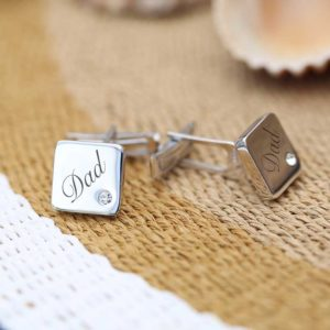 square cuff links men engrave silver stone
