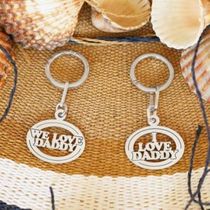 Oval Silver keyring with your child's name. You can also have an optional engraving on the back