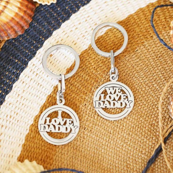 Round silver keyring WE LOVE DADDY I LOVE DADDY