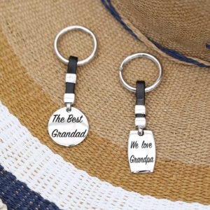 Mens silver keyring black strap engrave message